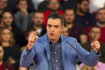 FILE - In this Friday, Nov. 8, 2019, file photo, Spain's caretaker Prime Minister and socialist candidate Pedro Sanchez makes a speech during the last day of campaign rallies in Alcala de Henares, Spain. Sanchez's Socialists won Spain's national election on Sunday but large gains by the upstart far-right Vox party appear certain to widen the political deadlock in the European Union's fifth-largest economy. (AP Photo/Paul White, File)