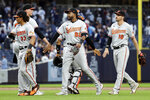 Baltimore Orioles third baseman Kelvin Gutierrez (82) celebrates with teammates after they defeated the New York Yankees in a baseball game on Sunday, Sept. 5, 2021, in New York. (AP Photo/Adam Hunger)