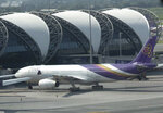 A Thai Airways jet sits on the tarmac at the Suvarnabhumi Airport in Bangkok, Thailand, Monday, Sept. 14, 2020. Thailand's Central Bankruptcy Court on Monday gave the go-ahead to financially ailing Thai Airways International to submit a business reorganization plan and appointed seven planners to oversee it. (AP Photo/Sakchai Lalit)