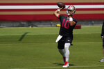 San Francisco 49ers quarterback Jimmy Garoppolo (10) passes during NFL football practice at Levi's Stadium in Santa Clara, Calif., Wednesday, Sept. 2, 2020. (AP Photo/Jeff Chiu, Pool)