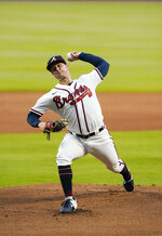 Atlanta Braves' rookie starting pitcher Tucker Davidson, makes his major league debut in the first inning of a baseball game against the Boston Red Sox on Saturday, Sept. 26, 2020, in Atlanta. (AP Photo/John Bazemore)