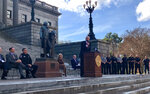 South Carolina Gov. Henry McMaster speaks at a rally Tuesday, Feb. 12, 2019 in support of ignition interlock legislation in Columbia, S.C. McMaster said he will sign the legislation immediately if members of the General Assembly pass it. (AP Photo/Christina L. Myers)