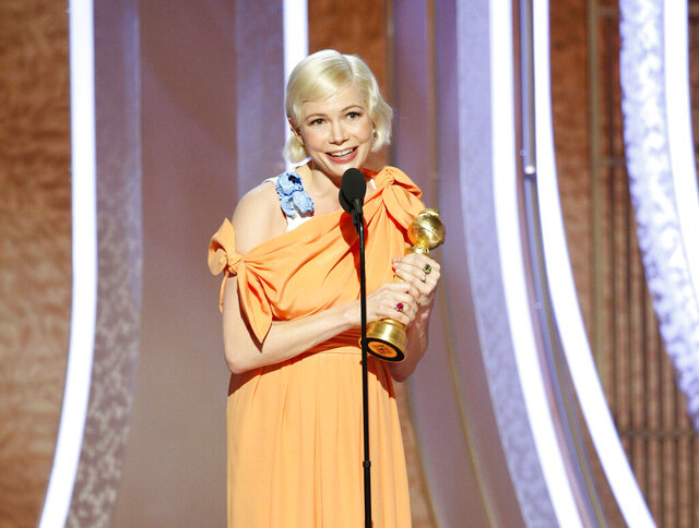 This image released by NBC shows Michelle Williams accepting the award for best actress in a limited series or TV movie for her role in