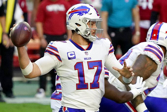 Buffalo Bills quarterback Josh Allen (17) throws against the Arizona Cardinals during the first half of an NFL football game, Sunday, Nov. 15, 2020, in Glendale, Ariz. (AP Photo/Rick Scuteri)