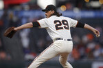 San Francisco Giants pitcher Jeff Samardzija works against the Colorado Rockies during the first inning of a baseball game Wednesday, Sept. 25, 2019, in San Francisco. (AP Photo/Ben Margot)