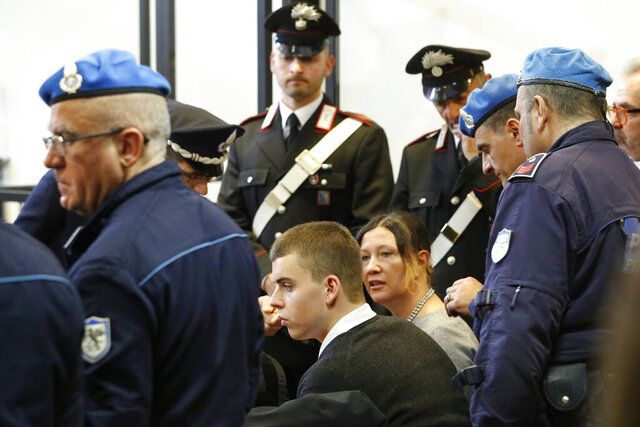 Gabriel Natale Hjorth attends the opening of the trial for the killing of Italian policeman Mario Cerciello Rega in Rome, Wednesday, Feb. 26, 2020.  American teenagers Finnegan Lee Elder and Gabriel Christian Natale-Hjorth are being tried for killing the officer. (AP Photo/Domenico Stinellis)