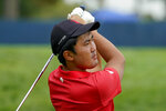 Takumi Kanaya, of Japan, plays his shot from the 13th tee during the first round of the US Open Golf Championship, Thursday, Sept. 17, 2020, in Mamaroneck, N.Y. (AP Photo/Charles Krupa)