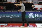 Nebraska coach Fred Hoiberg instructs the team during the first half of an NCAA college basketball game against Ohio State on Wednesday, Dec. 30, 2020, in Columbus, Ohio. (AP Photo/Jay LaPrete)