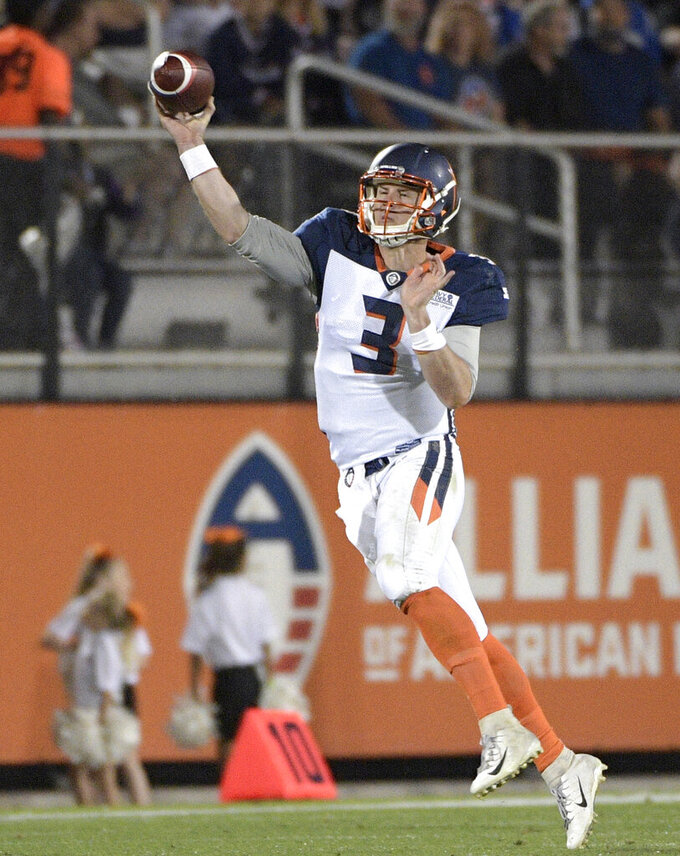 FILE - In this March 16, 2019, file photo, Orlando Apollos quarterback Garrett Gilbert (3) throws a pass during the first half of an AAF football game against the Arizona Hotshots, in Orlando, Fla. The Cleveland Browns intend to sign former Packers and Steelers safety Morgan Burnett and quarterback Garrett Gilbert, a person familiar with the plans told The Associated Press on Friday, April 5, 2019. (AP Photo/Phelan M. Ebenhack, File)