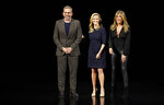 From left, Steve Carell, Reese Witherspoon and Jennifer Aniston speak at the Steve Jobs Theater during an event to announce Apple new products Monday, March 25, 2019, in Cupertino, Calif. (AP Photo/Tony Avelar)