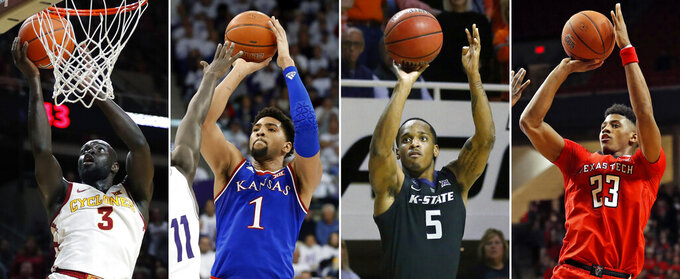 These are 2019 file photos showing college basketball players, from left: Iowa State guard Marial Shayok, Kansas forward Dedric Lawson, Kansas State guard Barry Brown Jr. and Texas Tech's Jarrett Culver. The top conferences in college basketball are wrapping up regular-season play, along with the races to determine each league's player of the year. The Big 12 offers the most uncertainty. (AP Photo/File)