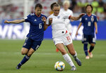 FILE - In this June 19, 2019, file photo, Japan's Hina Sugita, left, and England's Georgia Stanway, right, challenge for the ball during the Women's World Cup Group D soccer match between Japan and England at the Stade de Nice in Nice, France. The first-ever Manchester derby in the Women's Super League opens the season when the competition is still a boost in crowds after the big interest in England's run to the Women's World Cup semifinals. (AP Photo/Claude Paris, File)