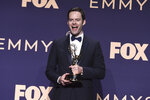 Bill Hader poses in the press room with the award for outstanding lead actor in a comedy series for