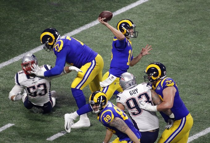 Los Angeles Rams' Jared Goff (16) works in the pocket against the New England Patriots during the second half of the NFL Super Bowl 53 football game Sunday, Feb. 3, 2019, in Atlanta. (AP Photo/Charlie Riedel)