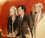 In this courtroom sketch Mehmet Hakan Atilla, second from left, listens to the judge during his sentencing, flanked by his attorneys Cathy Fleming, left, and Victor Rocco Wednesday, May 16, 2018, in New York. U.S. District Judge Richard Berman imposed a sentence of 32 months in prison on the Turkish banker convicted of helping Iran evade U.S. sanctions. (Elizabeth Williams via AP)