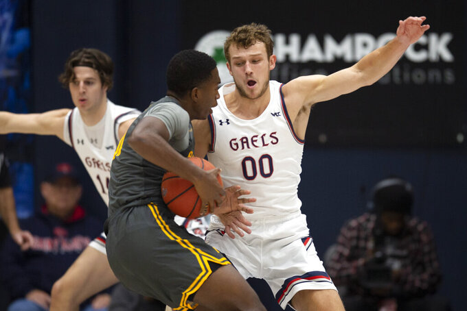 Saint Mary's guard Tanner Krebs (00) defends Long Beach State guard Chance Hunter (31) during the first half of an NCAA college basketball game Thursday, Nov. 14, 2019, in Moraga, Calif. (AP Photo/D. Ross Cameron)