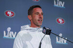 San Francisco 49ers head coach Kyle Shanahan speaks during a media availability, Thursday, Jan. 30, 2020, in Miami, for the NFL Super Bowl 54 football game against the Kansas City Chiefs. (AP Photo/Wilfredo Lee)