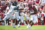 South Carolina wide receiver Bryan Edwards (89) receives a touchdown pass against Coastal Carolina safety Jave Brown (1) during the first half of an NCAA college football game Saturday, Sept. 1, 2018, in Columbia, S.C. South Carolina defeated Coastal Carolina 49-15. (AP Photo/Sean Rayford)