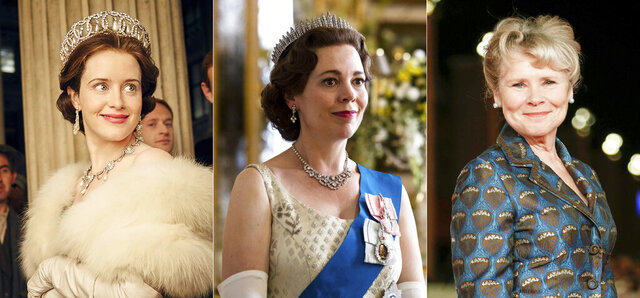 This combination photo shows Claire Foy, as the young Queen Elizabeth II, Olivia Colman as Queen Elizabeth II in later years and Imelda Staunton, who will be the third and final actress to portray the British monarch on the Netflix series