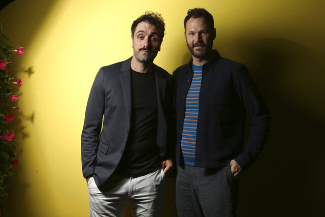 FILE - Writer/director Michael Angelo Covino, left, and actor Kyle Marvin pose during a portrait session to promote their film