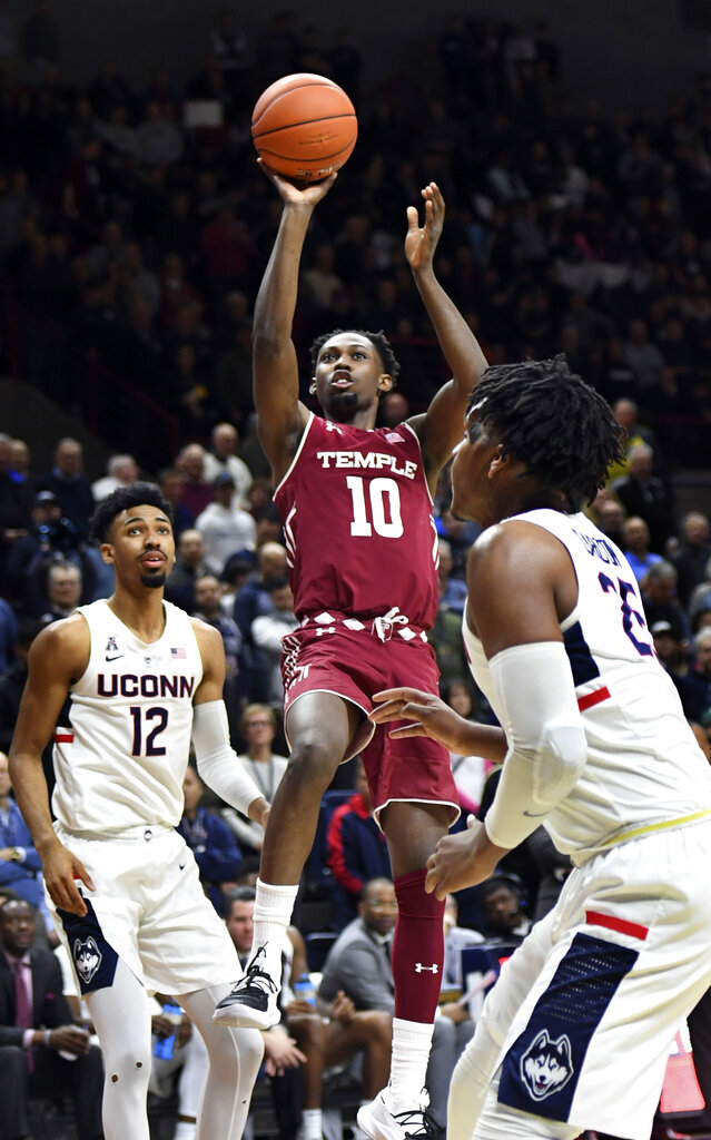 Temple's Shizz Alston Jr. (10) scores two of his 17 first-half points in the first half of an NCAA college basketball game against Connecticut, Thursday, March 7, 2019, in Storrs, Conn. (AP Photo/Stephen Dunn)