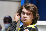 Colton Herta looks at his qualifying speed during qualifications for the Indianapolis 500 auto race at Indianapolis Motor Speedway, Sunday, May 23, 2021, in Indianapolis. (AP Photo/Darron Cummings)