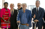 Lucas Museum of Narrative Art Co-Founder, Mellody Hobson, with filmmakers Francis Ford Coppola, Steven Spielberg, and her husband, George Lucas, with Los Angeles Mayor Eric Garcetti attend the groundbreaking ceremony of the Lucas Museum of Narrative Art in Los Angeles Wednesday, March 14, 2018. The institution, scheduled to open in 2021, is envisioned as not just a repository for