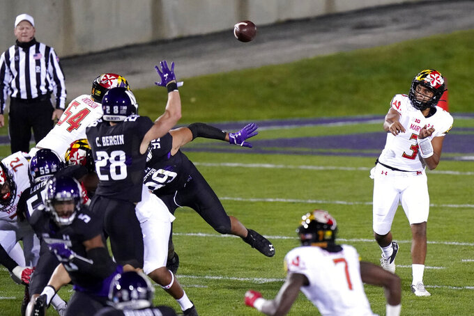 Maryland quarterback Taulia Tagovailoa (3) throws a pass during the first half of an NCAA college football game against Northwestern in Evanston, Ill., Saturday, Oct. 24, 2020. (AP Photo/Nam Y. Huh)