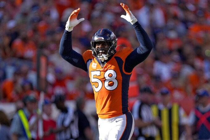 Denver Broncos outside linebacker Von Miller (58) celebrates a defensive stop against the New York Jets during the second half of an NFL football game, Sunday, Sept. 26, 2021, in Denver. (AP Photo/David Zalubowski)
