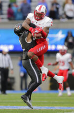 New Mexico wide receiver Delane Hart-Johnson (2) catches a pass against Air Force defensive back Jeremy Fejedelem (2) during the first half of an NCAA college football game, Saturday, Nov. 10, 2018, at Air Force Academy, Colo. (AP Photo/Jack Dempsey)