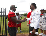 Atlanta Falcons defensive tackle Grady Jarrett (97), left, and wide receiver Julio Jones (11) chat after during their NFL minicamp football practice Tuesday, June 11, 2019, in Flowery Branch, Ga. (AP Photo/John Bazemore)