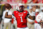 Utah quarterback Tyler Huntley (1) passes the ball against Idaho State in the second half of an NCAA college football game Saturday, Sept. 14, 2019, in Salt Lake City. (AP Photo/Rick Bowmer)