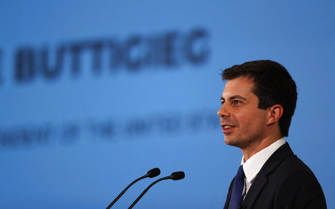 Democratic presidential candidate Pete Buttigieg speaks during the African American Leadership Summit Thursday, June 6, 2019, in Atlanta. (AP Photo/John Bazemore)
