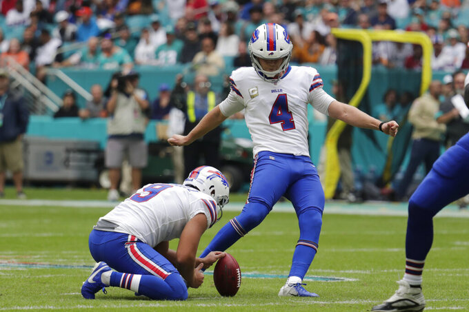 FILE - In this  Sunday, Nov. 17, 2019 file photo, Buffalo Bills kicker Stephen Hauschka (4) kicks a field goal, during the first half at an NFL football game against the Miami Dolphins in Miami Gardens, Fla. Buffalo Bills punter Corey Bojorquez (9) holds. Kickers across the NFL are struggling to put the ball between the uprights this season. The 79.7 percent conversion rate is the league's lowest number since 2003 when kickers hit 79.2 percent and missed 198 field goals. (AP Photo/Lynne Sladky, File)