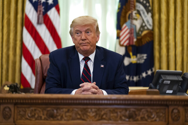 President Donald Trump speaks during a signing ceremony with Serbian President Aleksandar Vucic and Kosovar Prime Minister Avdullah Hoti, in the Oval Office of the White House, Friday, Sept. 4, 2020, in Washington. (AP Photo/Evan Vucci)