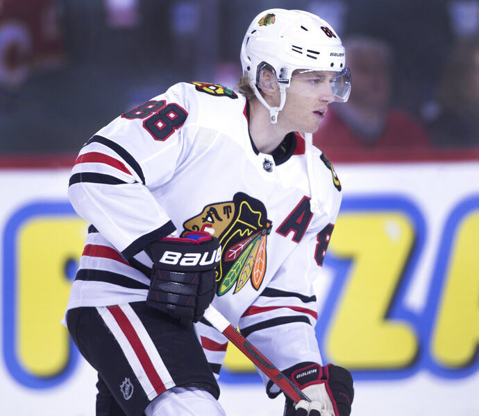 NHL profile photo on Chicago Blackhawks player Patrick Kane at a game against the Calgary Flames in Calgary, Alta. on Sat, Feb. 15, 2020. THE CANADIAN PRESS IMAGES/Larry MacDougal
