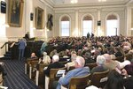 House lawmakers attend a session to take up bills vetoed by Republican Gov. Chris Sununu on Wednesday, Sept. 18, 2019, at the Statehouse in Concord, N.H. (AP Photo/Holly Ramer)