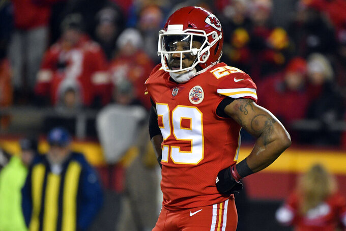 FILE - In this Dec. 13, 2018, file photo, Kansas City Chiefs defensive back Eric Berry (29) pauses during the first half of an NFL football game against the Los Angeles Chargers in Kansas City, Mo. The Chiefs began free agency by cutting one of their most popular players in strong safety Eric Berry, who was a dynamic presence when he was healthy but had missed significant time throughout his career. (AP Photo/Ed Zurga, File)