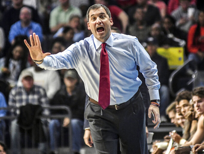 Iowa State coach Steve Prohm reacts in the second half against Mississippi  during an NCAA college basketball game Saturday, Jan. 26, 2019, in Oxford, Miss. (Bruce Newman/Star-Telegram via AP)
