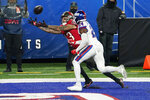 Tampa Bay Buccaneers' Mike Evans, left, catches a ball in the end zone for a touchdown in front of New York Giants' James Bradberry during the second half of an NFL football game, Monday, Nov. 2, 2020, in East Rutherford, N.J. (AP Photo/Corey Sipkin)