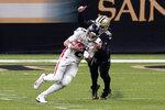 New Orleans Saints defensive end Trey Hendrickson (91) sacks Atlanta Falcons quarterback Matt Ryan (2) in the first half of an NFL football game in New Orleans, Sunday, Nov. 22, 2020. (AP Photo/Butch Dill)
