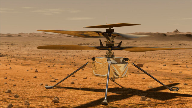In this artist rendering made available by NASA, depicts a helicopter that will be deployed in Mars later this summer. Vanessa Rupani, an Alabama high school student, won a contest to name the 4-pound solar-powered helicopter. Ingenuity, was the winning name that Rupani submitted from 28,000 names submitted in NASA's