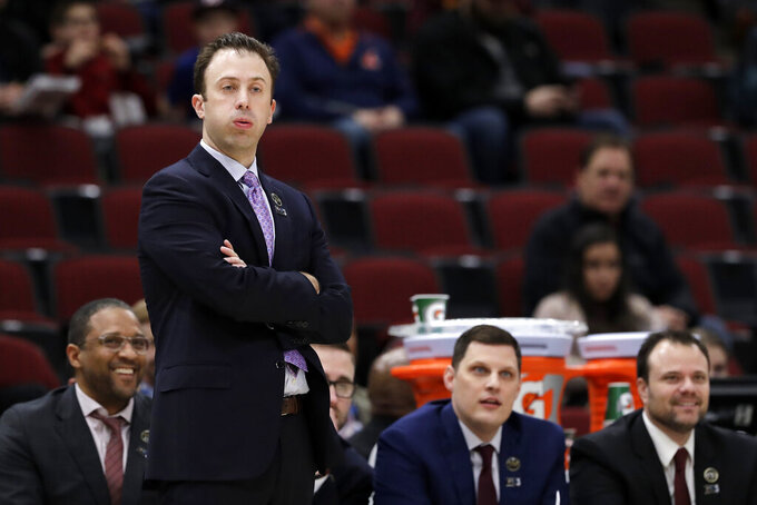 Minnesota head coach Richard Pitino reacts during the first half of an NCAA college basketball game against the Penn State in the second round of the Big Ten Conference tournament, Thursday, March 14, 2019, in Chicago. (AP Photo/Nam Y. Huh)
