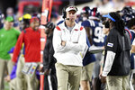 Mississippi head coach Lane Kiffin walks the sideline during an NCAA college football game against Austin Peay in Oxford, Miss., Saturday, Sept. 11, 2021. (AP Photo/Bruce Newman)