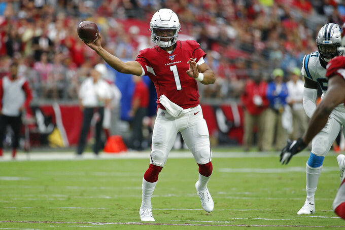 Arizona Cardinals quarterback Kyler Murray (1) looks to pass against the Carolina Panthers during the first half of an NFL football game, Sunday, Sept. 22, 2019, in Glendale, Ariz. (AP Photo/Rick Scuteri)
