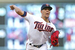 Minnesota Twins pitcher Jose Berrios throws to a St. Louis Cardinals batter during the first inning of a baseball game Tuesday, May 15, 2018, in Minneapolis. (AP Photo/Jim Mone)