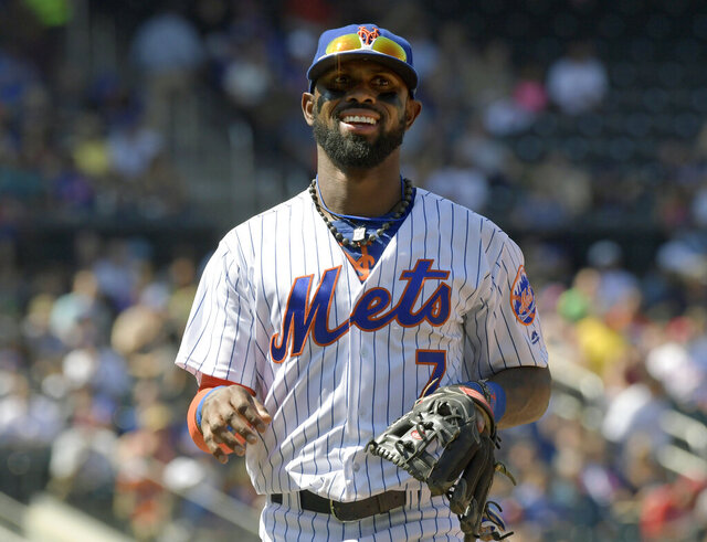 FILE - In this  Monday, Sept. 4, 2017 file photo, New York Mets shortstop Jose Reyes (7) reacts during the fourth inning of a baseball game against the Philadelphia Phillies at Citi Field in New York. José Reyes has retired from baseball, almost two years after playing his final game. The 37-year-old, a four-time All-Star shortstop for the New York Mets, made the announcement Wednesday, July 29, 2020 on Twitter. (AP Photo/Bill Kostroun, File)