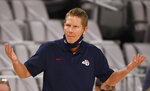Gonzaga head coach Mark Few reacts after Gonzaga scored a basket against Virginia during the second half of an NCAA college basketball game, Saturday, Dec. 26, 2020, in Fort Worth, Texas. (AP Photo/Ron Jenkins)