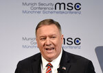 U.S. Secretary of State Mike Pompeo speaks on the second day of the Munich Security Conference in Munich, Germany, Saturday, Feb. 15, 2020. (AP Photo/Jens Meyer)