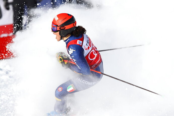 Italy's Federica Brignone celebrates at the finish area during an alpine ski, World Cup women's giant slalom in Sestriere, Italy, Saturday, Jan. 18, 2020. (AP Photo/Alessandro Trovati)